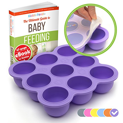 KIDDO FEEDO Baby Food Storage – The Amazon Original Freezer Tray Container With Silicone Lid – 9×2.5oz – 6 Colors Available – FREE eBook by Author/Dietitian – BPA Free/FDA Approved,