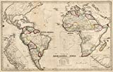 School Atlas | 1849 Political Map Of South America And Africa | Historic Antique Vintage Reprint
