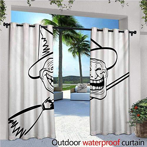 Humor Indoor/Outdoor Single Panel Print Window Curtain Halloween Spirit Themed Witch Guy Meme LOL Joy Spooky Avatar Artful Image Print Silver Grommet Top Drape W120 x L84 Black and -