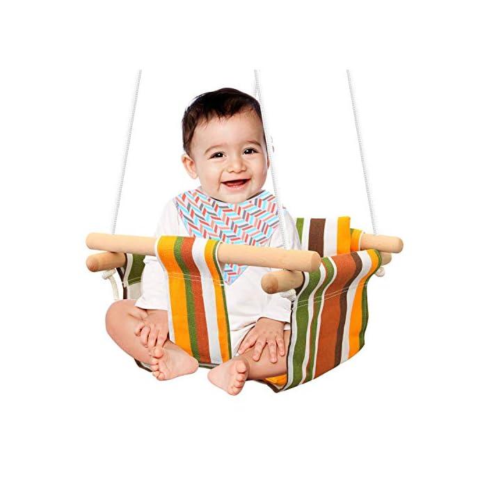 51PFBS1kwJL ✅ REASEGURACIÓN - ENVUELTO: Diseñado con un estilo envolvente, construido con 4 tacos de madera lisa de alta calidad para soporte múltiple y manos que lo sostienen. Para evitar que el bebé se caiga o duela, y deja la pierna abierta para un estiramiento flexible. El bebé puede desarrollar naturalmente su equilibrio en un momento feliz de swing. ✅ CALIDAD SATISFACTORIA: Hecho de tela de lino de lino natural y duradera con un toque hipoalergénico, agradable para la piel y plano, lo que hace que no raye la piel del bebé como tienden a hacerlo las bases duras de columpio. Fresco y transpirable en los calurosos días de verano. Pero POR FAVOR, NO deje al bebé solo, independientemente de lo seguro que sea. (Este asiento de columpio de tela para bebé tiene capacidad para un bebé de 6 meses a 3 años de edad hasta 132 lb / 60 kg. ) ✅ DISEÑO CÓMODO: ❤Viene con cojines de almohada suaves y adorables que combinan para un respaldo y una sentada cómodos.❤ Viene con una cuerda ajustable en longitud, rango de 125CM a 145CM, y el cojín desmontable se siente más cómodo y seguro. Creemos que su hijo se divertirá más jugando con él.