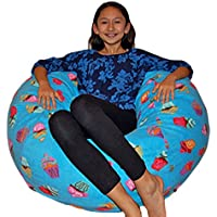 Ahh! Products Cupcakes Fleece Washable Bean Bag Chair, Large, Blue