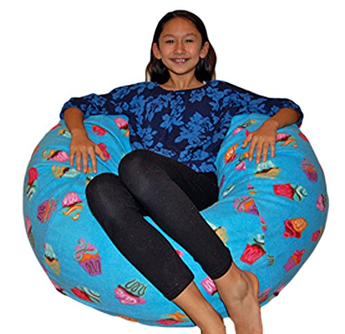 Ahh! Products Cupcakes Fleece Washable Bean Bag Chair, Large, Blue by Ahh! Products