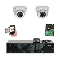 GW Security  2 Camera System 5MP NVR IP Camera Network PoE Surveillance System with 8-Piece HD 1920P Weatherproof Dome Cameras - White