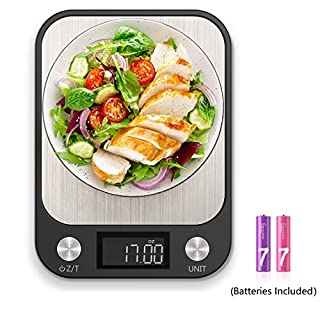 Dieternal Digital Food Kitchen Scale Weight Grams and Ounces with 1g/0.1oz Precise Increment for Cooking Baking Coffee Shop, 11lbs/5kg, Brushed Stainless Steel Technics Surface, AAA Batteries Included