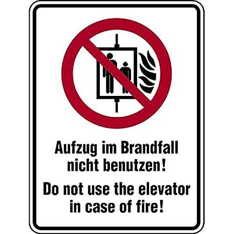 LEMAX/® Schild Symbol//Text deut.//engl Aufzug im Brandfall nicht benutzen 150x200mm PVC