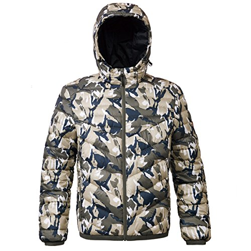 Rokka&Rolla Men's Lightweight Water Resistant Hooded Quilted Poly Padded Puffer Jacket