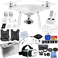 DJI Phantom 4 Quadcopter + Xtreme VR Vue II (For iPhone/Android Screen Size 3.5-6) + Hard-Shell Aluminum Case + Drone Easy Carry Vest + 7 Piece Filter Kit + 32GB Micro SD & More!