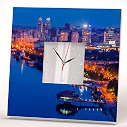 Dnipro City Center River Night View Ukraine Wall Clock Framed Mirror Printed Decor Home Design Gift