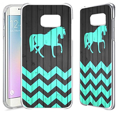 Price comparison product image [TeleSkins] - Plastic Clear Case For Samsung Galaxy S7 EDGE - Horse On Teal Wood Zig Zag Pattern - Ultra Durable Slim Fit,  Protective Plastic Snap On Back Case / Cover [wireless_phone_accessory]…