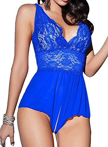 XIMAN Women Sexy Lingerie Open Crotch Teddy Nightwear Miniskirt Babydoll (US L=Tag XL, Blue)