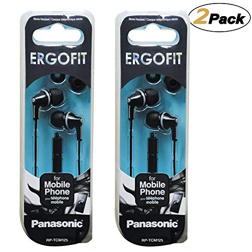 Panasonic ErgoFit Earbud Headphones with Mic and Controller RP-TCM125-K, (Black) [2Pack]