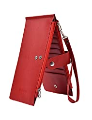 Outrip RFID Womens Leather Bifold Card Case Wallet Thin Zipper Card Wallet Purse(Red)