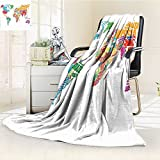 Digital Printing Blanket Map Made by Names of the Countries Europe America Africa Asia Graphic Summer Quilt Comforter
