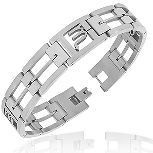 My Daily Styles Stainless Steel Silver-Tone Link Chain Zodiac Sign Scorpio Mens Bracelet with Clasp (Silver Chain Tone Link)