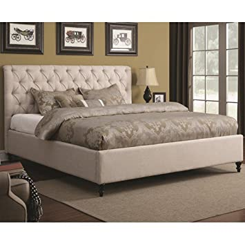 Amazon.com - Bed with Tufted Headboard and Turned Wood Feet ... : quilted headboard bed - Adamdwight.com