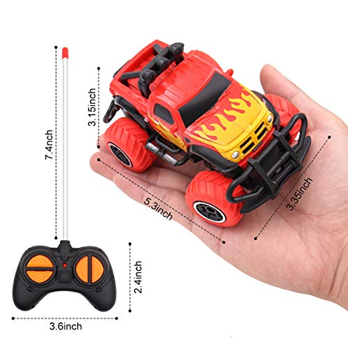Rettoy Remote Control Toys Car for 3-6 Year Old Kids, 4WD Off-Road Mini RC Truck Cute SUV 1:43 Buggy Cool Graffiti Jeep Vehicle Toy for Boys Girls Best Birthday for Children Red