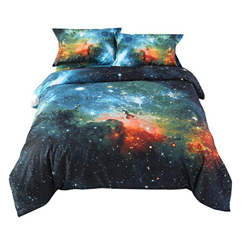 Ammybeddings 4 Piece Green Space Comforter Cover with 1 Sheet and 2 Pillow Shams,Charming 3D Blue Galaxy Bedding Sets,Twin/Full/Queen/King,Stylish Decor Duvet Cover Set (Twin, Green)