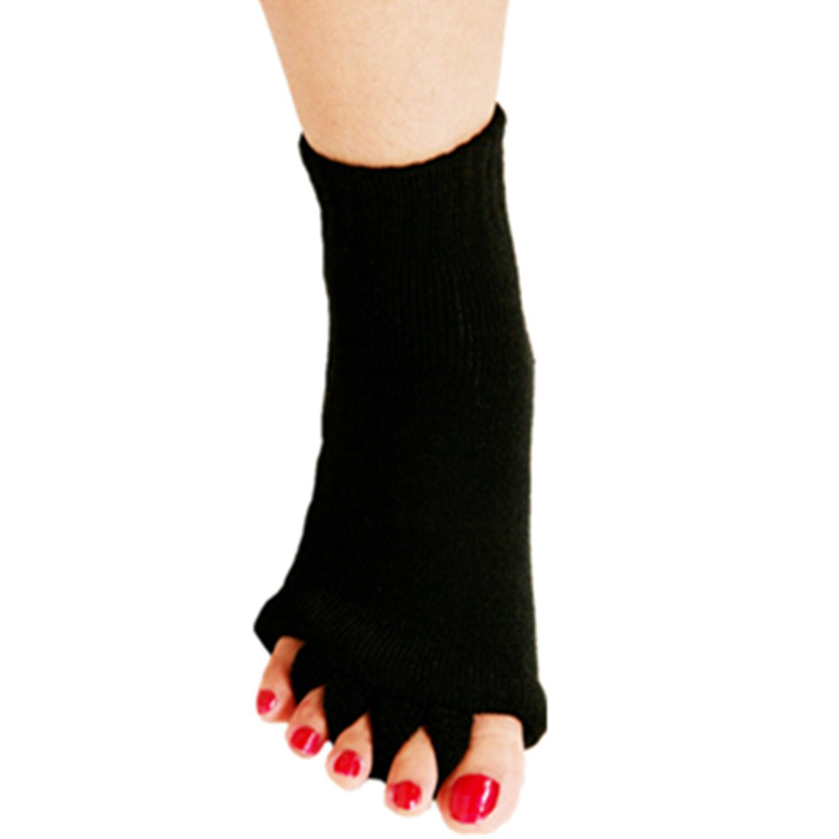 1 Pair Yoga GYM Massage Five Toe Separator Socks Foot Alignment Pain Relief Hot (One Size, A-Black)