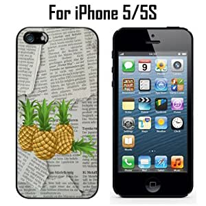 Pineapples On Newspaper Custom Case/ Cover/Skin *NEW* Case for Apple iPhone 5/5S - Black - Plastic Case (Ships from CA) Custom Protective Case , Design Case-ATT Verizon T-mobile Sprint ,Friendly Packaging - Slim Case by icecream design