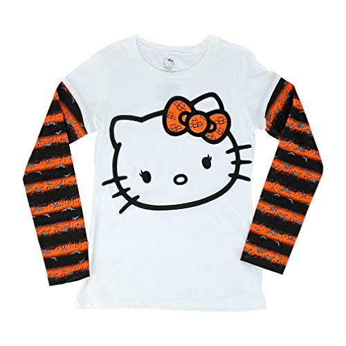 Disney's Mickey & Minnie Mouse Tshirt, Hello Kitty Halloween Juniors Girls Long Sleeve - Glow in the Dark (XX-Large, Hello (Hello Kitty Halloween Shirt)