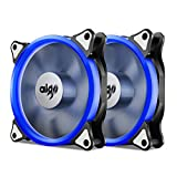 Aigo, Halo LED 120mm 12cm PC CPU Computer Case Cooling Neon Quite Clear Fan Mod 4 Pin/3 Pin (2 Pack Blue)