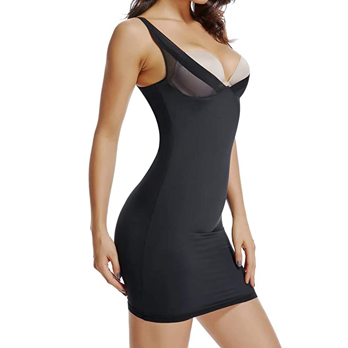e360a6f8c0853 Joyshaper Full Slips for Women Under Dresses Long Cami Slip Dress Seamless  Slimming Slip Shapewear Black