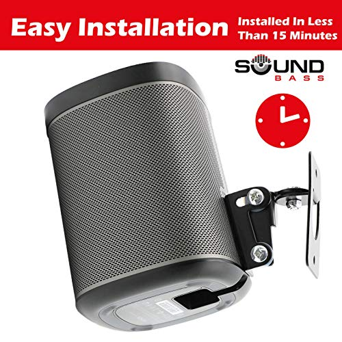 2 x SONOS Play 1 Wall Mount, Twin Pack, (NOT Compatible with SONOS ONE) Adjustable Swivel & Tilt Mechanism, 2 Brackets for Play:1 Speaker with Mounting Accessories, Black by Sound Bass (Image #4)