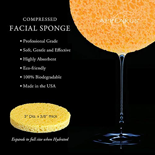 Appearus Compressed Natural Cellulose Facial Sponges, White, Made in USA (100 count/S1901W) by Appearus (Image #2)