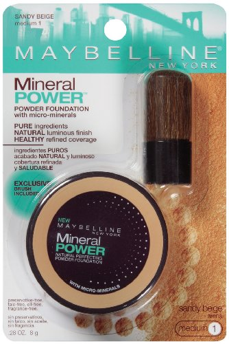 Maybelline Mineral Power Foundation de New York en poudre, Sandy Beige, Medium 1, 0,28 once