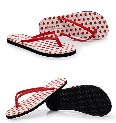 YOUJIA Plage Cœur Filles de été Casual 2 Chaussures Tongs Sandales Ornementé Femmes SSrXw7