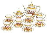 Beautiful Victorian Golden Flower Hearts Decorative Porcelain Coffee Tea Set of 15 Pieces Pot Cups Saucers Sugar Pot Creamer Milk Pot