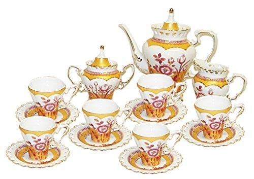Flower Porcelain Creamer (Beautiful Victorian Golden Flower Hearts Decorative Porcelain Coffee Tea Set of 15 Pieces Pot Cups Saucers Sugar Pot Creamer Milk Pot)