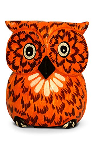 G6 Collection Unique Handmade Wooden Owl Cute Piggy Bank Hoot Coin Bank Hand Carved, Money Box Savings Handcrafted Wood Decorative Keepsake Adorable Kids Room Decor