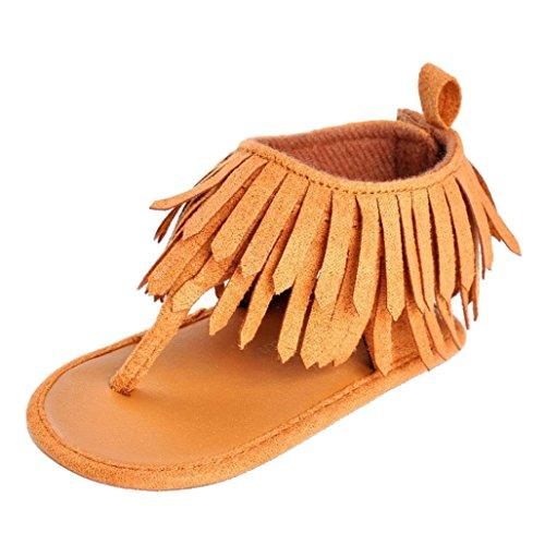 Malloom Bebé niña recién nacido borlas zapatos sandalias Marrón