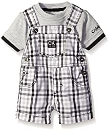 Calvin Klein Baby Boys\' Interlock Top with Woven Shortall, Lt Gray/Plaid, 18 Months