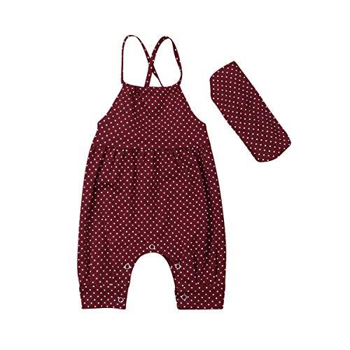 Infant Toddler Newborn Kids Baby Girls Sleeveless Strappy Romper Jumpsuit with Headband Polka Dot Bodysuit 2PCS Set
