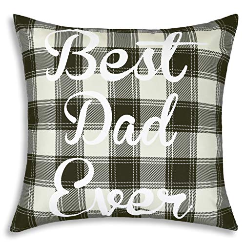 BLEUM CADE Throw Pillow Covers Best Dad Ever Pillow Cover Classic Plaid Pillowcase Cushion Cover for Bed Couch Sofa Car Chair Cushion Cover 18x18 Inch