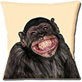 Funny Novelty Smiling Chimpanzee Chimp Photo Print on Cream - 16 (40cm) Pillow Cushion Cover by Cushions Corner