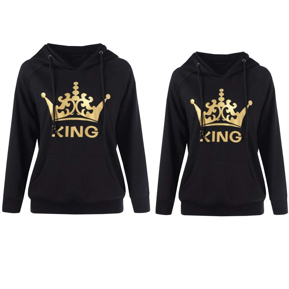 Stephaee Damen und Herren Pärchen King Queen Pullover Kapuzenpulli Paare Sweatshirt