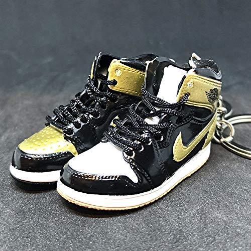 Pair Air Jordan I 1 Retro Top 3 Gold Toe Black NRG OG Sneakers Shoes 3D Keychain Figure 1:6