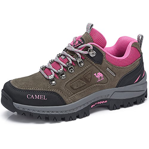 CAMEL CROWN Women's Outdoor Leather Hiking Shoes Breathable Lightweight Sneaker for Walking Trekking Light Grey/Pink 250 CN