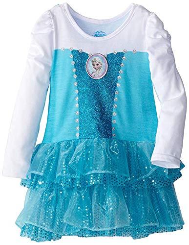 Cheap Frozen Dresses (Disney Little Girls' Frozen Knit Dress with Cape, Blue,)