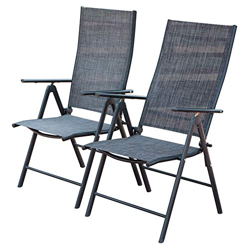 Chair Garden Folding Iron - PatioPost Outdoor Adjustable Folding Recliner Patio Sling Chairs with 7 Stalls for Lawn, Garden, Patio, Beach, Set of 2(Grey)
