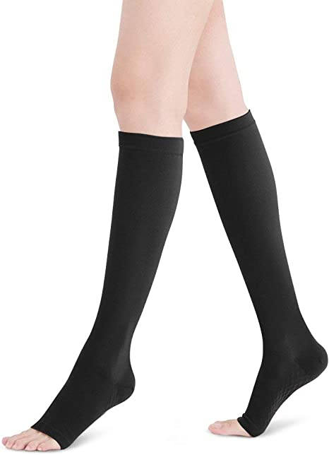 Fytto 2020 Open Toe Microfiber Compression Socks 15 20mmhg Graduated Compression Knee High Support Socks Class 1 Flight Stockings Men Women Swelling Varicose Veins Amazon Co Uk Sports Outdoors