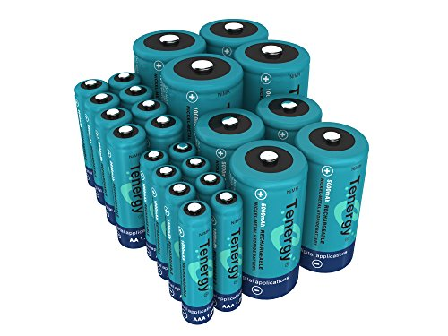 (Tenergy High Drain AA AAA C and D Battery, 1.2V Rechargeable NiMH Batteries Combo, 8-Pack 2600mAh AA Cells, 8-Pack 1000mAh AAA Cells, 4-Pack 5000mAh C Cells and 4-Pack 10000mAh D Cell Batteries)