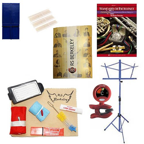 Baritone Saxophone Players Mega Pack – Essential Accessory Pack for the Saxophone: Includes: Saxophone Care & Cleaning Kit, Saxophone Reed Pack w/Reed Holder, Music Stand, Band Folder, Standard of Excellence Book 1 for Bari Sax, & Tuner & Metronome