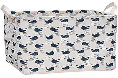 "Sea Team 17.7"" x 11.8"" x 9.8"" Square Natural Linen & Cotton Fabric Storage Bins Shelves Storage Baskets Organizers for Nursery & Kid's Room"
