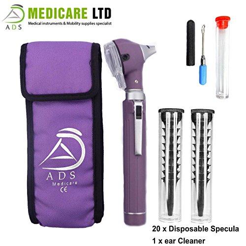 (Purple Piccolight Fibre Optic Mini Otoscope with Complimentary Ear Cleaner)