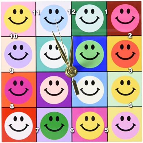 3dRose dc_113153_1 Colorful Smiley Face Squares Warhol Style-Happy Rainbow Smilies-Bright Multicolored Multicolor-Desk Clock, 6 by 6-Inch