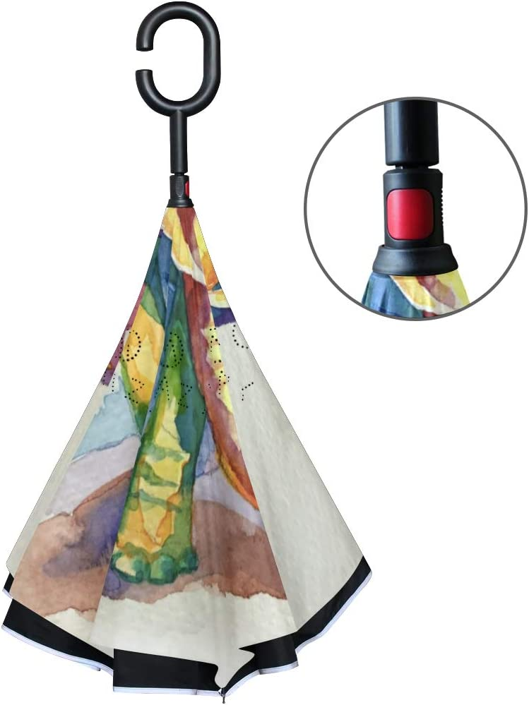 Protection UV Motif /él/éphant color/é avec Ailes de Papillon Grand Parapluie Droit r/ésistant au Vent autoportant ISAOA Parapluie Double Couche Pliant invers/é pour Voiture